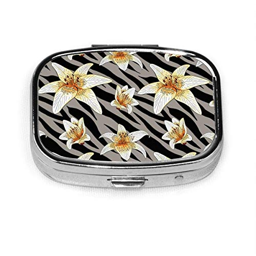Lily Flower On Gray Tiger Skin Fashion Square Pill Box Organizer Holder Travel Pill Vitamin Decorative Box Case Holder