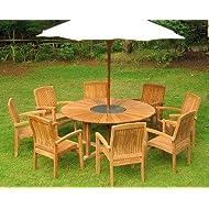Teak 6 Seater Round Matahari Set