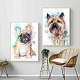 TEDDRA Impresión de Arte en Lienzo Pintura Animal Bulldog francés Akita Perro Carteles nórdicos e Impresiones Cuadros de Pared para la decoración de la habitación del hogar-40x60cmx2 sin Marco