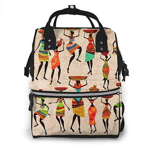 Abstract Art African Woman Baby Diaper Bag Backpack,Multi-Function Waterproof Large Capacity Travel Nappy Bags For Mom