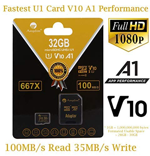 TF Card 32GB Micro SD Plus Adapter. Amplim 32 GB MicroSD Memory Card. (100MB/s 667X V10 A1 Class 10 U1 UHS-I) MicroSDHC Card for Cell Phone, Tablet, Camera, Fire, GoPro, Nintendo, Dashcam, DJI, LG