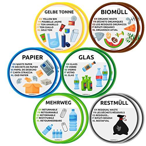 trashnice Mülltrennung Aufkleber 12er Pack mehrsprachig Mülltonne Abfalleimer Set Abfall Abfalleimer-Aufkleber 95 mm, Gelbe Tonne, Biomüll, Papier, Glas, Mehrweg und Restmüll