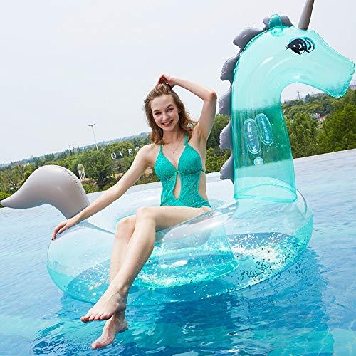 Xihouxian Transparenter Grüner Paillette-Einhorn-Berg-Schwimmring, Art- Und Weiseaufblasbarer Erwachsener Sich Hin- Und Herbewegender Reihen-Nettorot-Schwimmring, Umweltfreundliches PVC-Material, Aufg