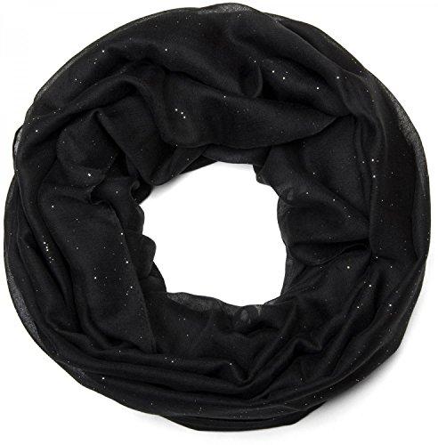 styleBREAKER raffinata sciarpa scaldacollo luccicante, tinta unita, donna 01018090, colore:Nero