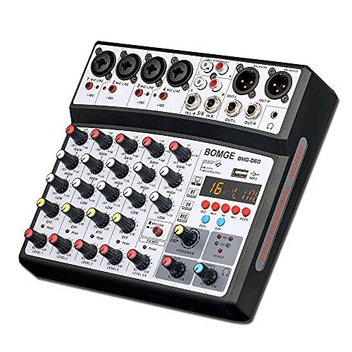 BOMGE 6チャンネルdjオーディオミキサー、MP3 USB Bluetooth、48Vファンタム電源、5V電源、16 DSPエコーエフェクトミキサー(ライブ、音楽、カラオケ、ポッドキャスト用) (黒)