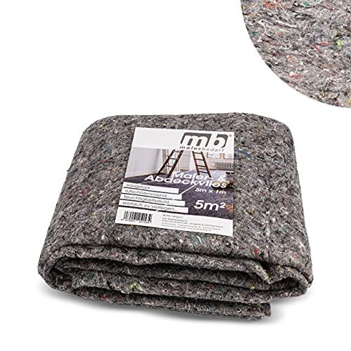 mb Malerbedarf - Malervlies & Abdeckvlies - Saugstark & rutschhemmend - Vlies mit Beschichtung - Oberflächenschutz bei Maler und Renovierarbeiten - 5m x 1m = 5m² - für...