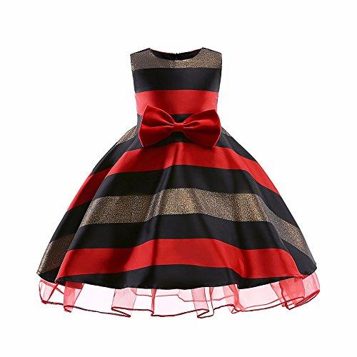 Cichic Kinder Kleider Mädchen Prinzessin Kleid Geburtstags Hochzeits Partei Tüll Kleid Mädchen Formale Kleider Pageant Brautjungfer Prom Kleid (3-4Jahre, Rot-03)