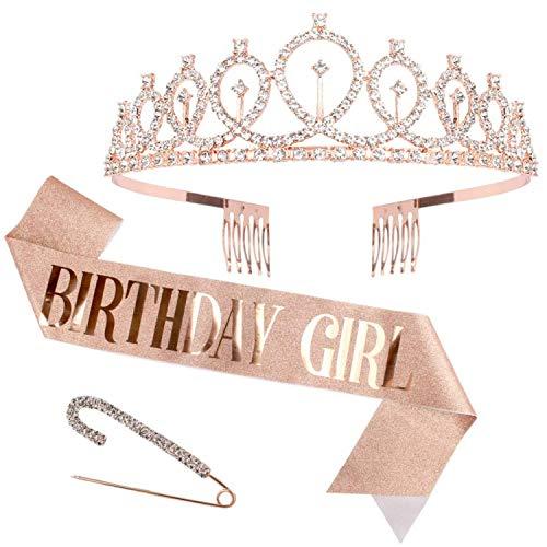 Bea's Party Fascia Corona Compleanno Oro Rosa Donna Kit Tiara Di Strass Cerchietto E Fascia In Oro Rosa Glitter 30 40 50 coroncina 18 Anni Fornitura Festa Anniversario