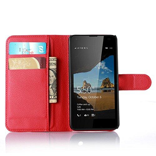 Ycloud Custodia Cover per Nokia Microsoft Lumia 550 Portafoglio Tasca Book Folding Custodia in Pelle con Supporto di Stand Cover Case Custodia Pelle con Stilo Penna Rosso