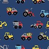 1m Baumwolljersey Stoff mit Baustellen Fahrzeugen auf blau