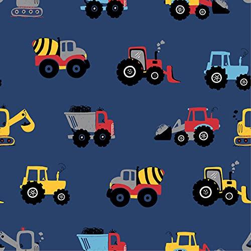 1 m de tela de jersey de algodón con vehículos de construcción en color azul   tela para niños