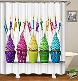 ZZZdz Herzlichen Glückwunsch Zum Geburtstag An. Farbige Kuchen. Duschvorhang. 180 X 180 cm. 12 Freie Haken. Haus Dekoration. 3D Hd-Druck. Einfach Zu Säubern. Badezimmerzubehör.