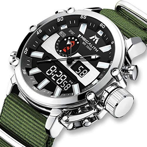 xiaoxioaguo Reloj digital de los hombres de los deportes militares analógico de cuarzo multifunción de doble pantalla reloj con alarma cronómetro reloj deportivo al aire libre
