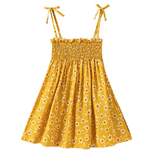 Hatoys Baby Girl Floral Strap Dress Toddler Infant Summer Sleeveless Beach Dress