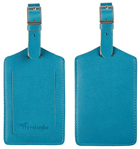 Travelambo Leather Luggage Bag Case Tags (Energetic Blue)
