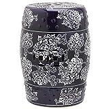 Safavieh Midnight Flower Ceramic Decorative Garden Stool, Navy and White