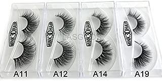 4Box/Lot 3D Real Mink False Eyelashes LASGOOS Siberian Luxurious Fluffy Messy Cross Long 4 Pairs Diffferent Light Weight Fake Eye Lashes Makeup Set 01