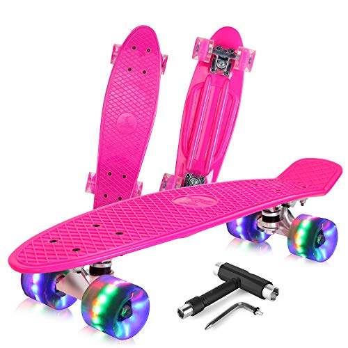 BELEEV Skateboard 22 inch Complete Mini Cruiser Retro Skateboard for Kids Teens Adults, LED Light up Wheels with All-in-One Skate T-Tool for Beginners (Rose Pink)