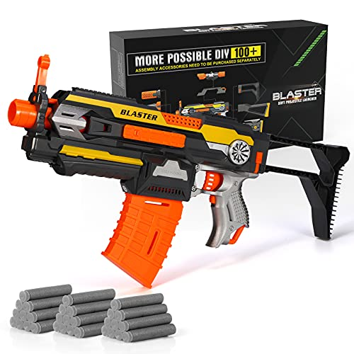 X TOYZ Motorized Blaster Toy Gun, Electric Automatic Shooting Toys, 30 Official Darts Compatible with Nerf Guns, 1 Butt and 1Dart Clip, Toy Gun Set with Multi-Player Game for 6+Age, Gift for Boys