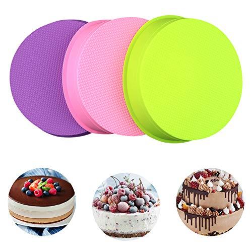 """Juego de 3 moldes de silicona redondos para tartas, Capas de Pastel Moldes Redondos de Silicona Cake Pan Hornear Molde Placa de Pizza DIY Molde Herramientas Redondas 10"""""""