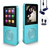 Mp3 Player, Hotechs Hi-Fi Sound, with FM Radio, Recording Function Build-in Speaker Expandable Up to 64GB with Noise Isolation Wired Earbuds (Sky Blue)