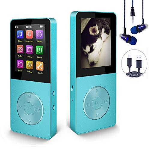 Hotechs MP3 Player, verlustfrei MP3, 70 Stunden Wiedergabezeit, Unterstützen FM Radio, Bilder, Aufnahmen, E Buch, bis 64GB TF Karte