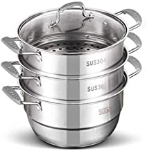 HRXD Steamer pot suitable for home kitchen three-layer stainless steel steamer set outdoor gas stove cooker universal stea...