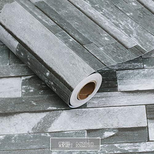 Byrhgood Moderno 3D PVC Ladrillo Piedra Autoadhesivo Fondo Efecto rústico Efecto Impermeable Pegatinas de Pared Antideslizante diseño de Contacto (Color : MZ018, Dimensions : 1mx60cm)