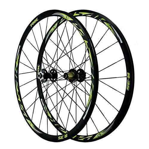 Bicicleta de carretera 700C Bicicleta Wheelset Pasta de ruedas de ciclismo Conjunto de ruedas de freno de liberación rápida Palin Rodamiento 7-11 RIM RIM FreeWheel c / v 24h ( Color : A , Size : 17 )