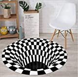 FuTaiKang - Alfombrilla para alfombra con efecto 3D, antideslizante, duradera, color blanco y negro, no tejida para dormitorio, salón, comedor, cocina (C 100 cm)