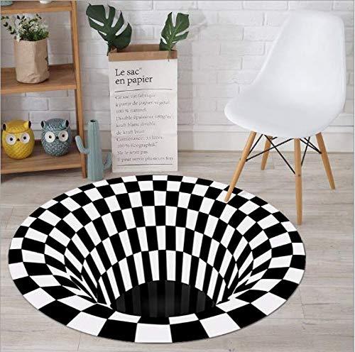 FuTaiKang Tour de Tapis, Tapis Piège Illusion 3D, Tapis de Sol Antidérapant Durable Blanc Noir Non Tissé pour Chambre Salon Salle à Manger Cuisine (C 100 cm)
