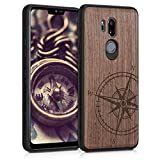 kwmobile Cover Compatibile con LG G7 ThinQ/Fit/One - Hard-Case in Legno con Bumper TPU - Bussola Legno Marrone Scuro