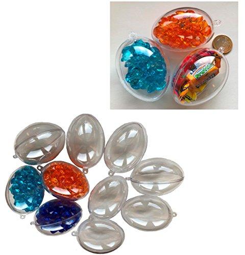 CRYSTAL KING 10 uova di Pasqua in acrilico, diametro 6,5 cm, in acrilico, decorazione pasquale a forma di sfera trasparente da appendere, in plastica trasparente