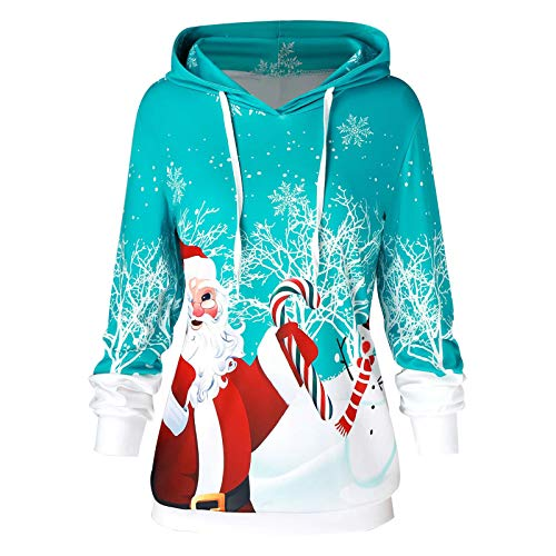 BIBOKAOKE Women's Christmas Jumper Teenager Girls Christmas Jumper Reindeer Hooded Christmas Sweatshirt Xmas Jumper Snowman Hoodie Christmas Jumper Loose Hoodie - Beige - One size
