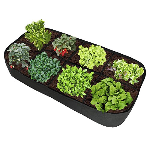 ASSR Fabric Raised Garden Bed, 135 Gallon 8 Holes Rectangle Breathable Planting Container Grow Bag Planter Pot for Plants, Flowers and Vegetables