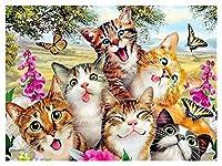 ダイアモンドペインティング ダイヤモンドモザイク動物ダイヤモンド絵画猫ダイヤモンド刺繍クロスステッチ花ラインストーンハンドクラフトの写真 (Color : AP2 2979, Size : 40x50cm)