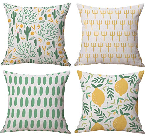 Gspirit 4 Pack Verano Cactus Limón Algodón Lino Throw Pillow Case Funda de Almohada para Cojín 45x45 cm
