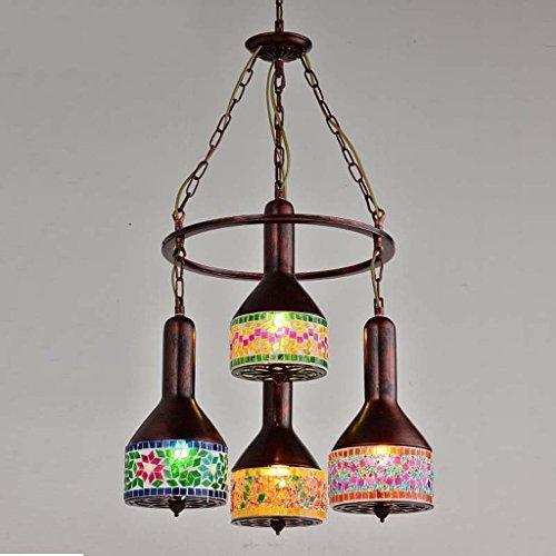 The harvest season- Creativo Vintage Lampadario Café Stained Glass Bohemia Art Light / E27