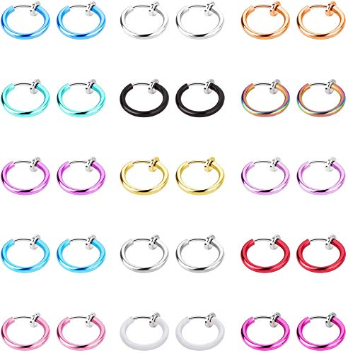YADOCA 30 pendientes falsos sin necesidad de perforación, anillo de nariz, oreja, labio, aro para la nariz, joyería para el cuerpo, 15 colores