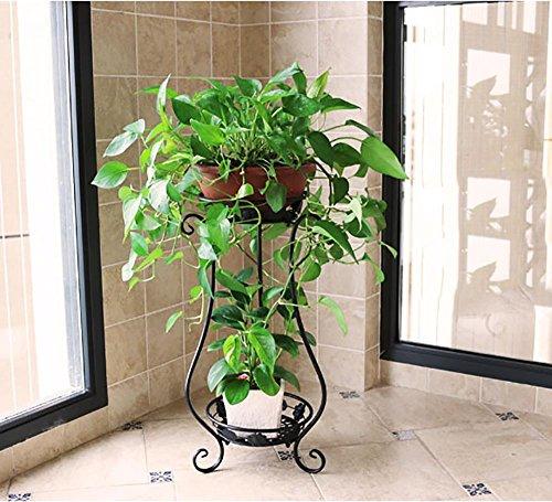 LLLXUHA Art de fer Métal Deux étages Étagère à fleurs, Planter des fleurs Présentoir, intérieur De plein air Multifonction Jardin Support , Black , 30*62cm