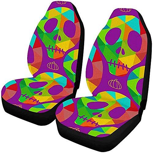 Enoqunt schedel pompoen Halloween autostoelbekleding voorstoelen auto zitkussen fCar