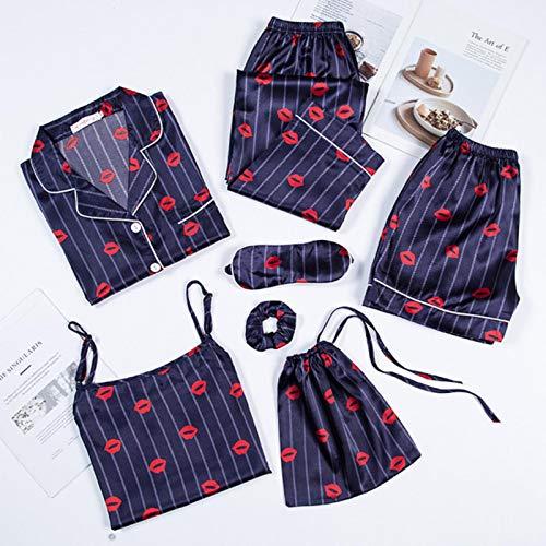 Rosa Damen Pyjama 7-teiliges Set Kunstseide Streifen Pyjama Frauen Nachtwäsche Sets Frühling Sommer Herbst Homewear