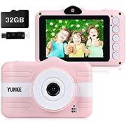 YUNKE Kinderkamera, Digitale Kamera Bildschirm 3,5 Zoll Bildschirm 32G Speicherkartenband Kartenleser, Weihnachten Neujahr Geburtstag Festival Spielzeug Geschenk für Kinder Alter 3-12 (Pink)
