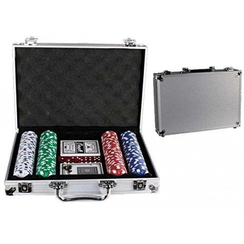 Out of the blue 79/3980 - Set per Poker in Valigetta di Alluminio, incl. 5 Dadi, 2 mazzi di Carte e 200 fiches, Circa 11,5 g