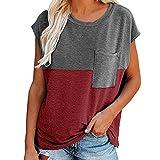 Blusa de Cuello Redondo para Mujer Camisas Casuales sólidas de Manga Corta Tops de Bloque de Color de Verano Casual con Bolsillo Camiseta de Rayas de Manga Corta Tops de Empalme de Bloque de Color