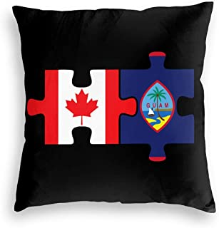 ZHXR Canada and Guam Flags in Puzzle Velvet Decorative Square Throw Pillow Covers Personalized Pillowcases for Car Sofa Bedroom 18 X 18 Inch