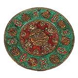 LAOJUNLU Monasterio Tibetano para Recoger el Cobre Puro Antiguo y el Oro Puro Pintado a Mano Que representan Las Incrustaciones de Gemas auspiciosas Ocho Tesoros Placa de Buda