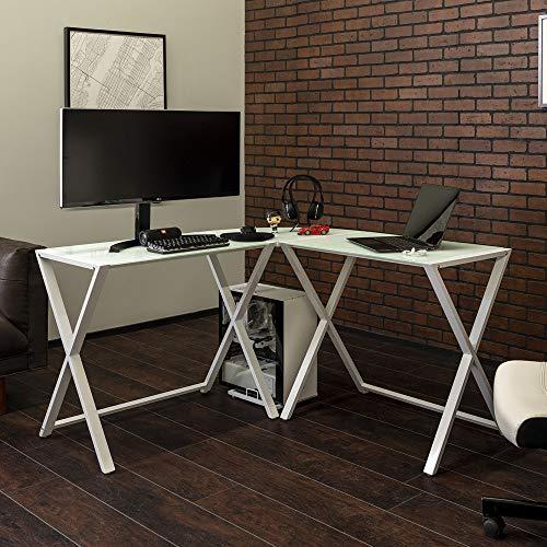 Walker Edison Furniture Company Modern Corner L Shaped Glass Computer Writing Gaming Gamer Command Center Workstation Desk Home Office, 51...
