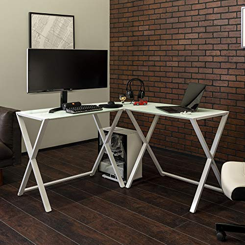 Walker Edison Furniture Company Modern Corner L Shaped Glass Computer Writing Gaming Gamer Command Center Workstation Desk Home Office 51 Inch White