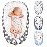 SMTTW Baby Nest, Baby Lounger Co Sleeping Bassinet for Baby Newborn Lounger 100% Soft Cotton Breathable with Baby Pillows for Sleeping, Portable Bassinet as Baby Shower Gifts (Elephant)
